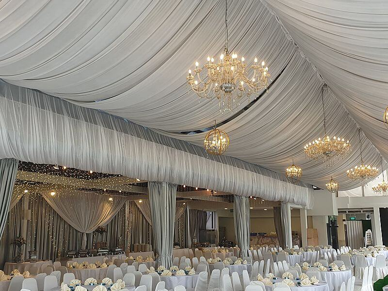 singapore large wedding space with white tent and crystal lights