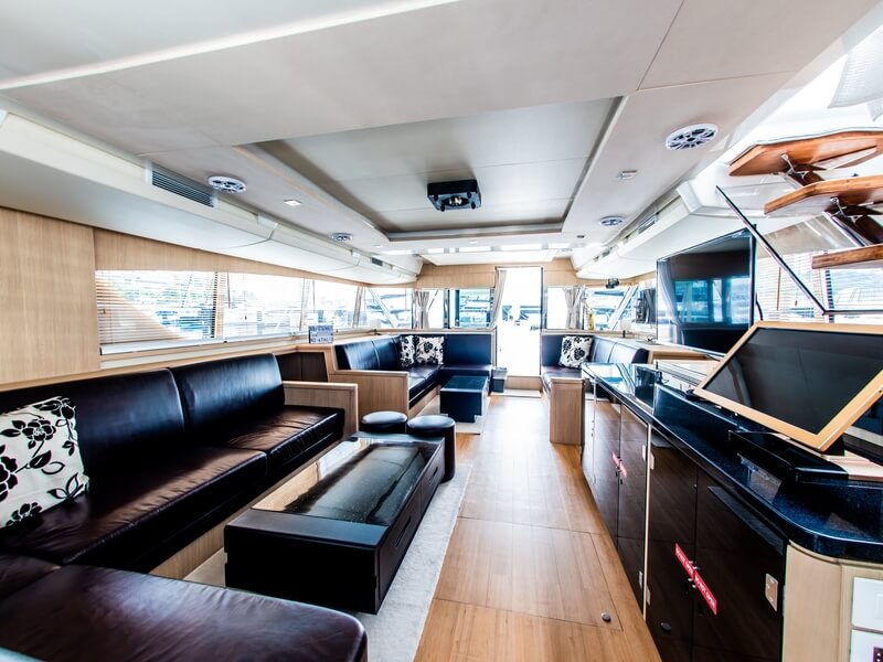 the light wooden interior of the yacht
