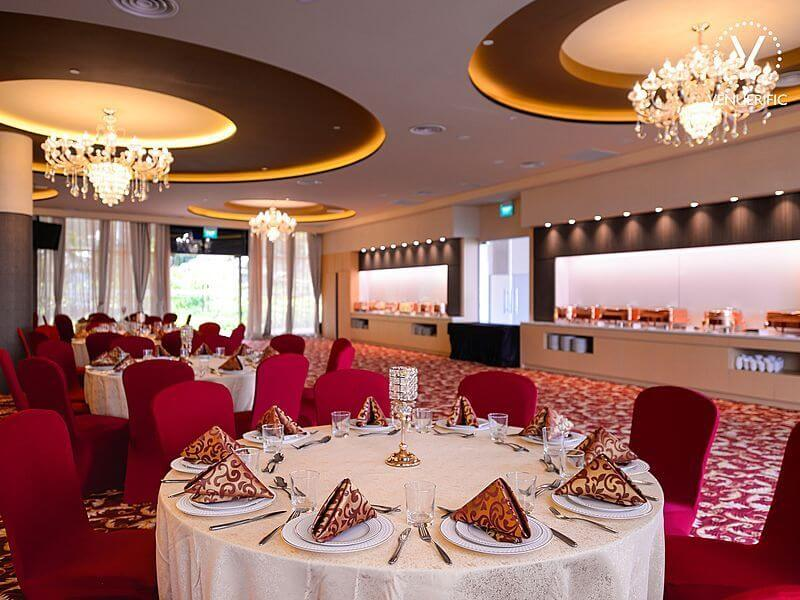 singapore event space with red interior and banquet seating