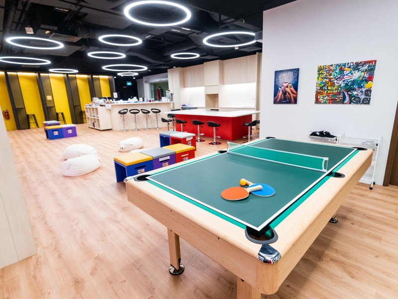 Corporate Event Venue with tennis table in middle