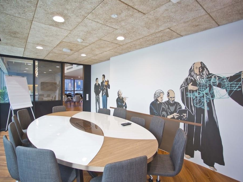 Corporate Event Venue with desk and chairs for boardroom meeting