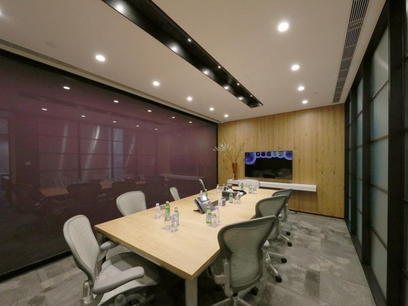 Purple elegant executive meeting room with TV