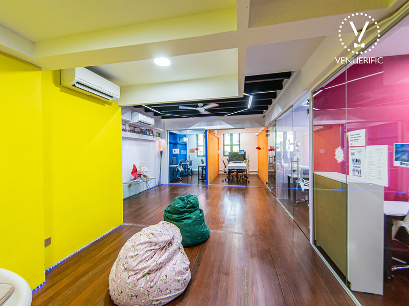 colorful painted space with bean bags and meeting rooms