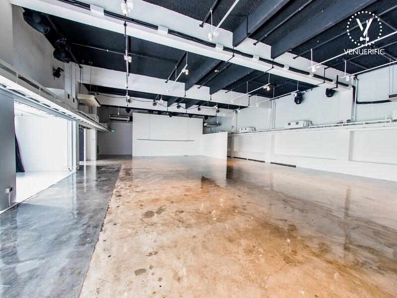 multi-dimensional event space with high ceiling and marble floor