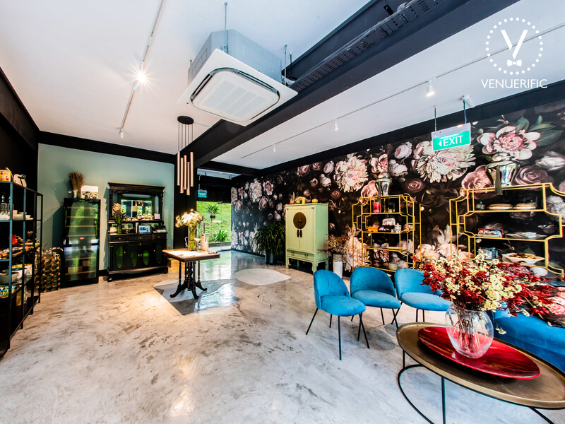 flower decorated venue with cosy vintage vibe