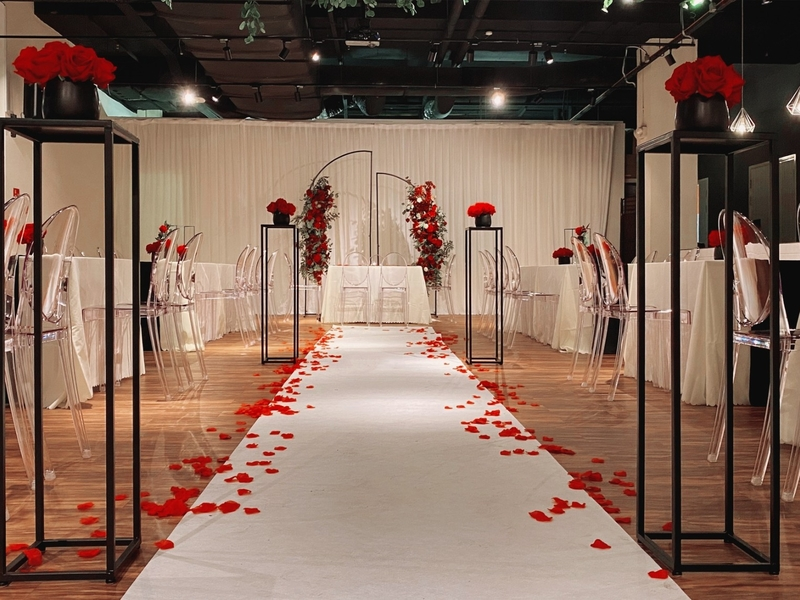 wedding venue with red rose decoration