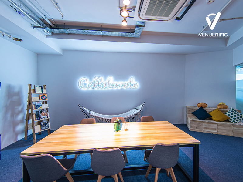 meeting rooms with neon lights