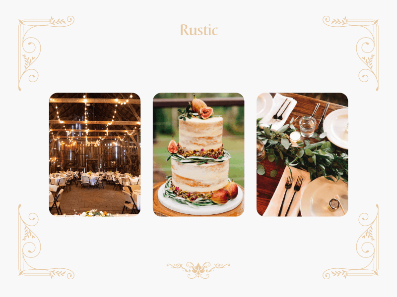 collage with fairy lights and rustic cakes