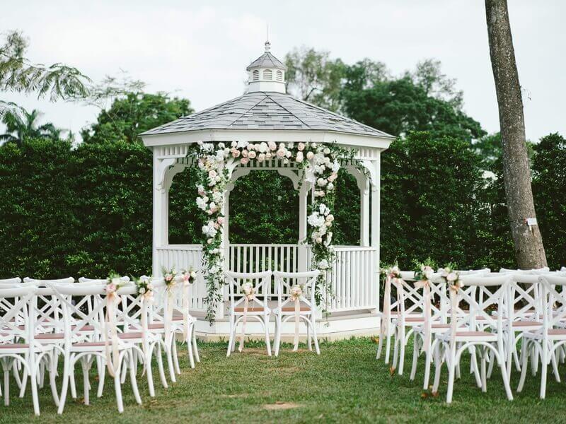 white patio wedding ceremony