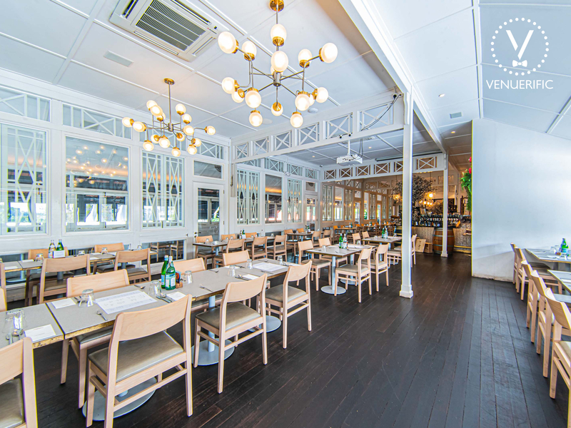 indoor dining area with white interior