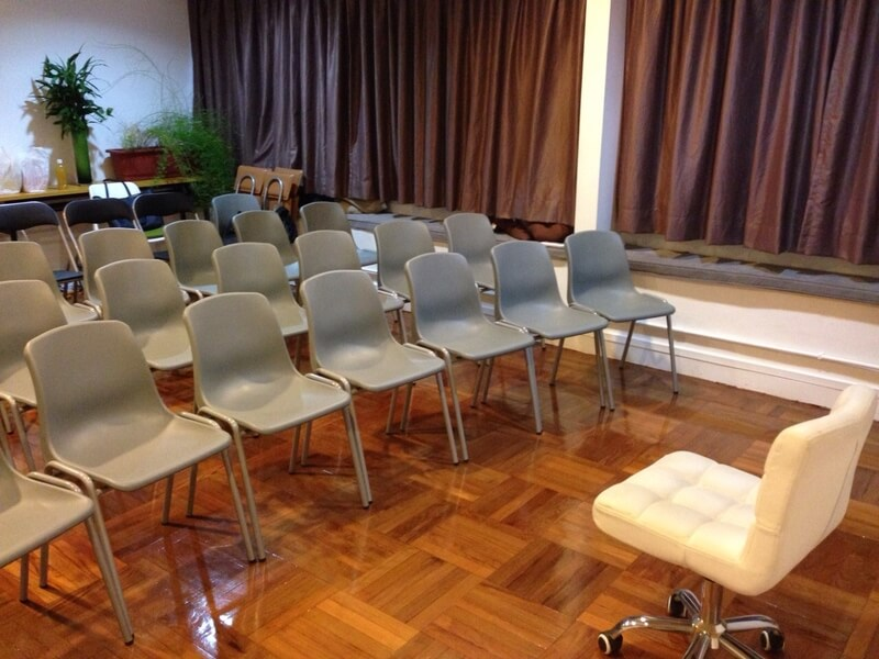 meeting room with grey chairs