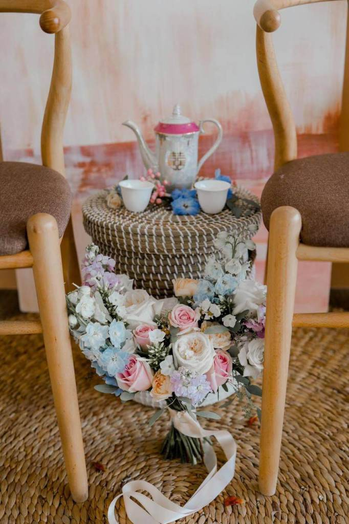 bouquet wrapped around a tea table