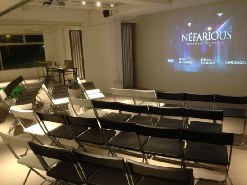 chairs lined up for movie screening