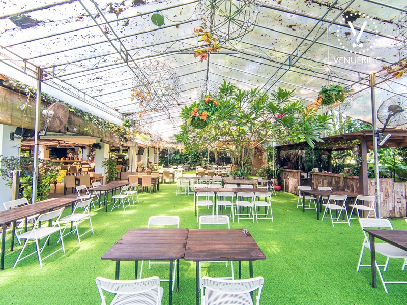 outdoor space with white chairs and wooden tables