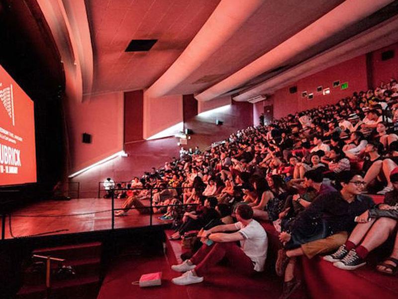 people attending movie screening