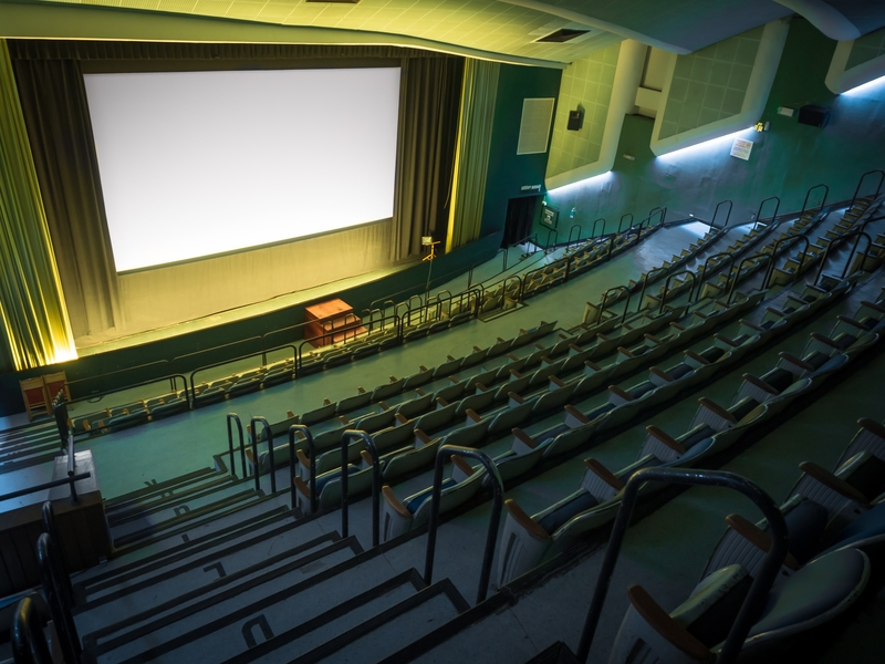theater room with big screen