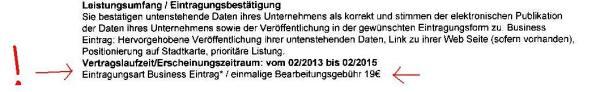 Branchenbuch Deutschland Bearbeitungsgebühr