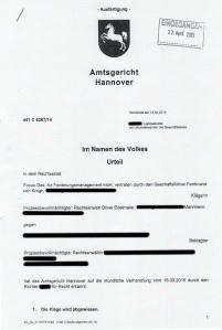 Bild Urteil AG Hannover