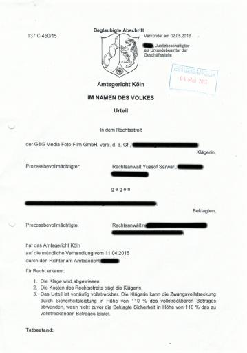 Bild Urteil AG Köln