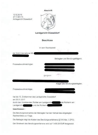 Scan: Urteil Gold International SE | LG Düsseldorf