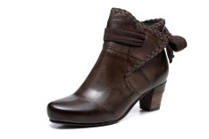Sahara Flat Heel Ankle Women Leather Boots - Brown
