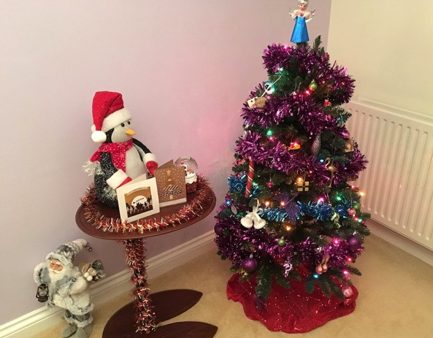 Christmas tree, decorations and cards