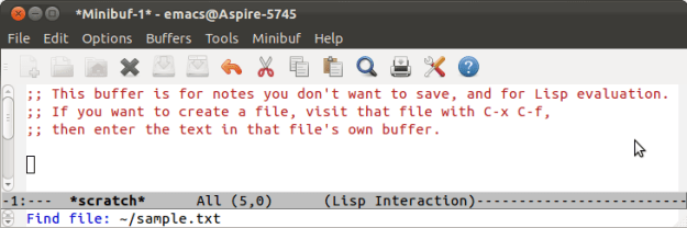 Screenshot of opening a file in emacs