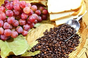 grapes with coffee beans,bread