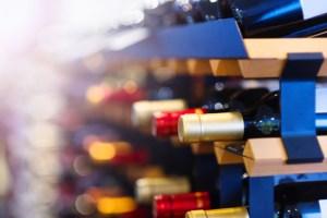 Wine bottles on a shelf