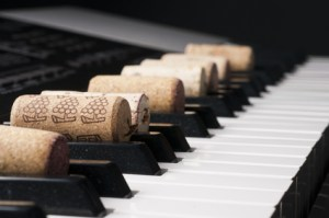 Wine cork on piano keyboard