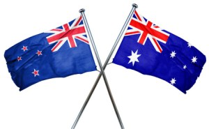 New zealand flag combined with australian flag
