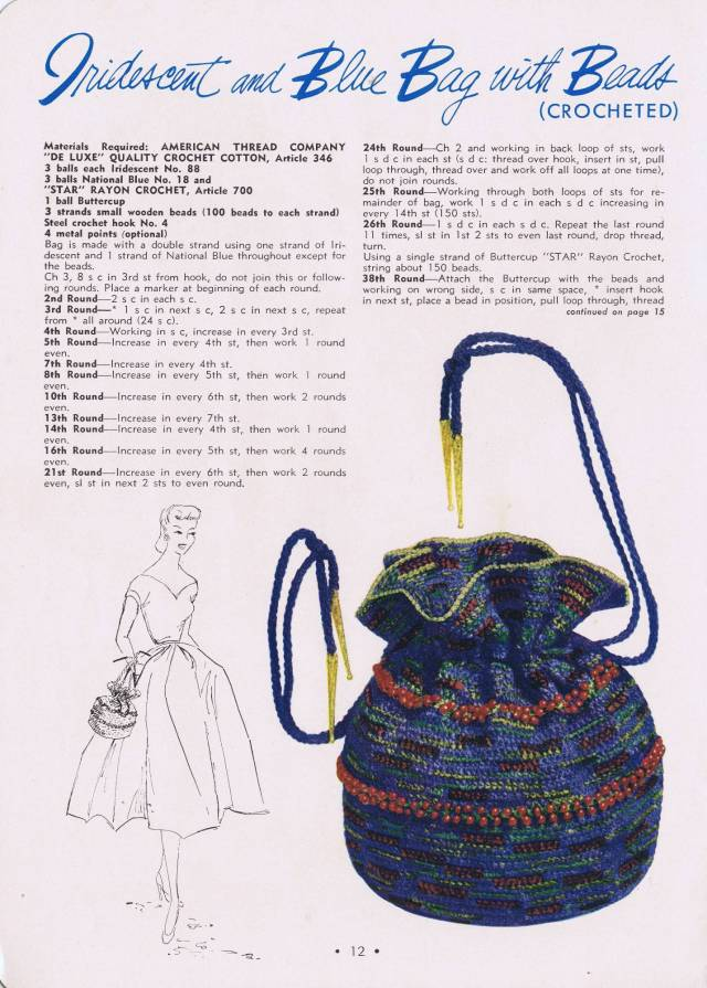Vintage Beaded Pouch Handbag Crochet Pattern