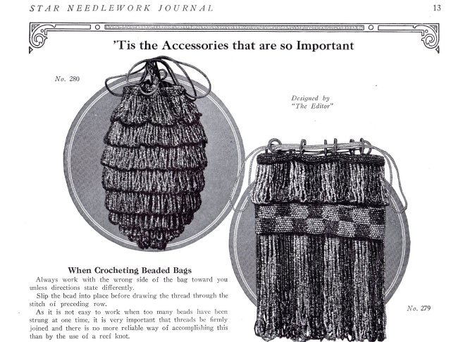 beaded crochet hand bags purse patterns 1920s