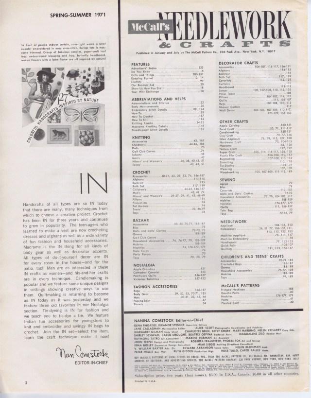 table contents McCalls Needlework Spr Sum 1971