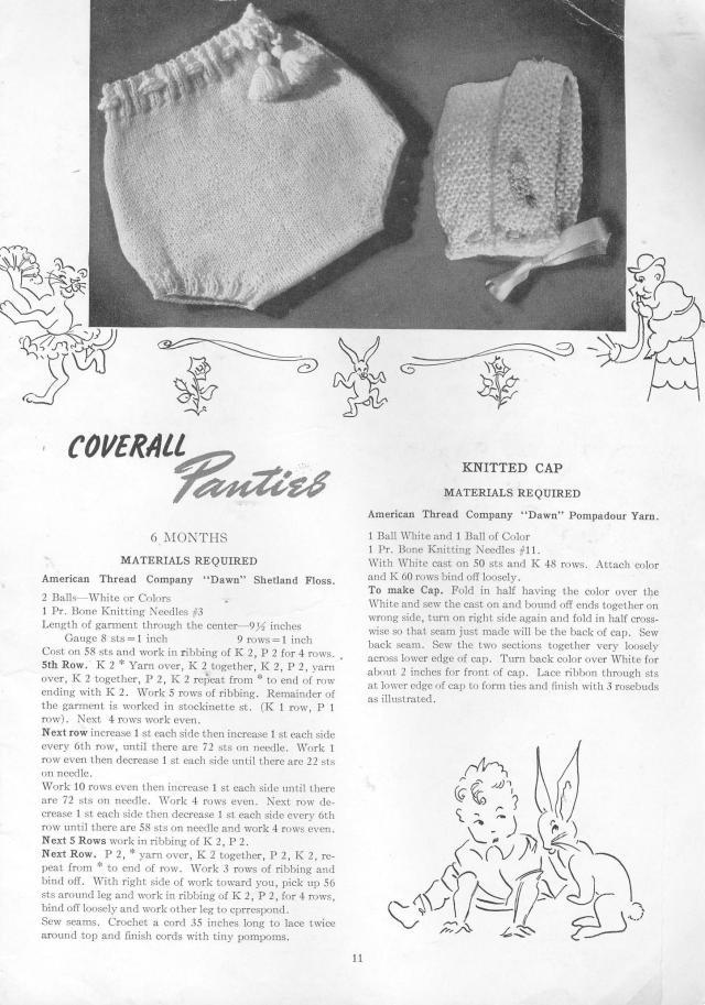 vintage patterns baby panties cap knitting pattern