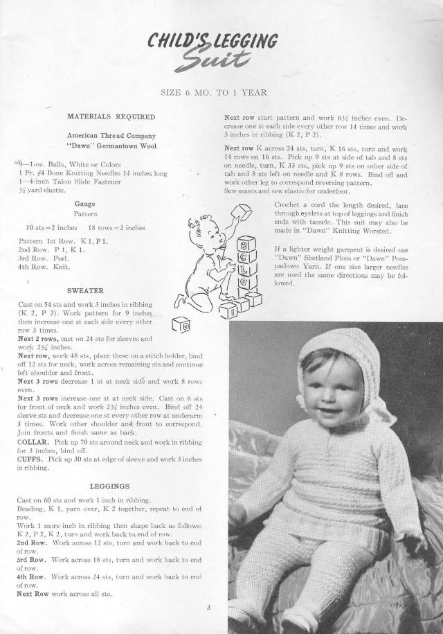 vintage knitting pattern babies leggings sweater