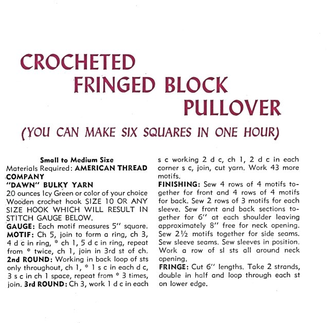 Lesson Two - Crochet Tutorial Vintage 60s Crocheted Fringed Color Block Pullover Sweater Pattern
