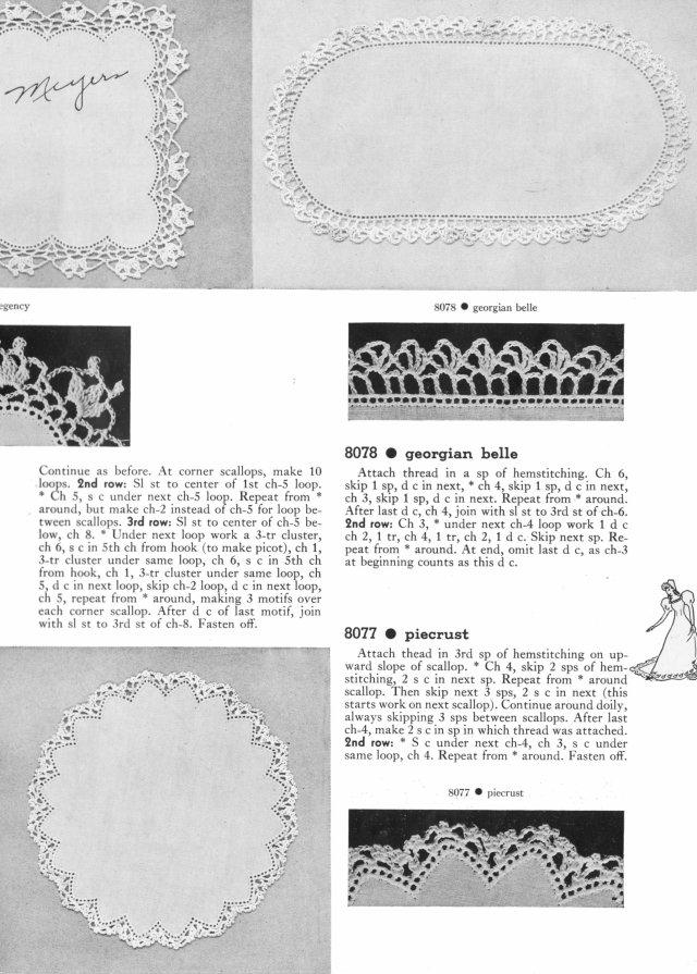 six doilies queen anne |Pomander walk | Chippendale | Regency