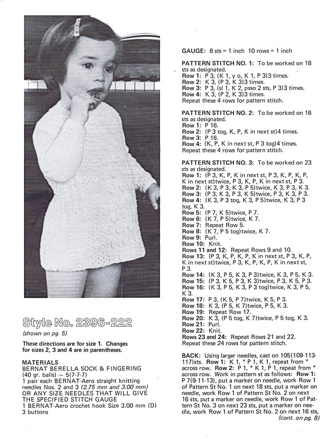 Dress knitting pattern sizes 1 to 4