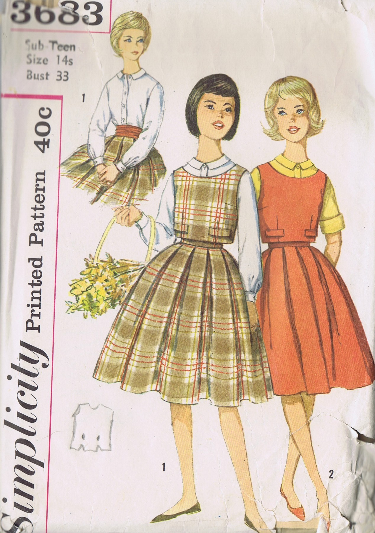 Simplicity 3683 Sewing Pattern Girls Skirt Blouse Top Bust 33 Inches UNCUT