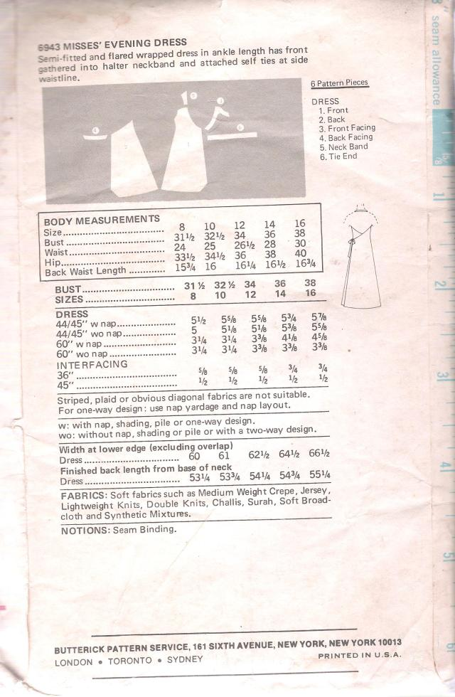 Vintage Butterick 6943 Wrap Halter Dress Pattern Bust 38 Inches