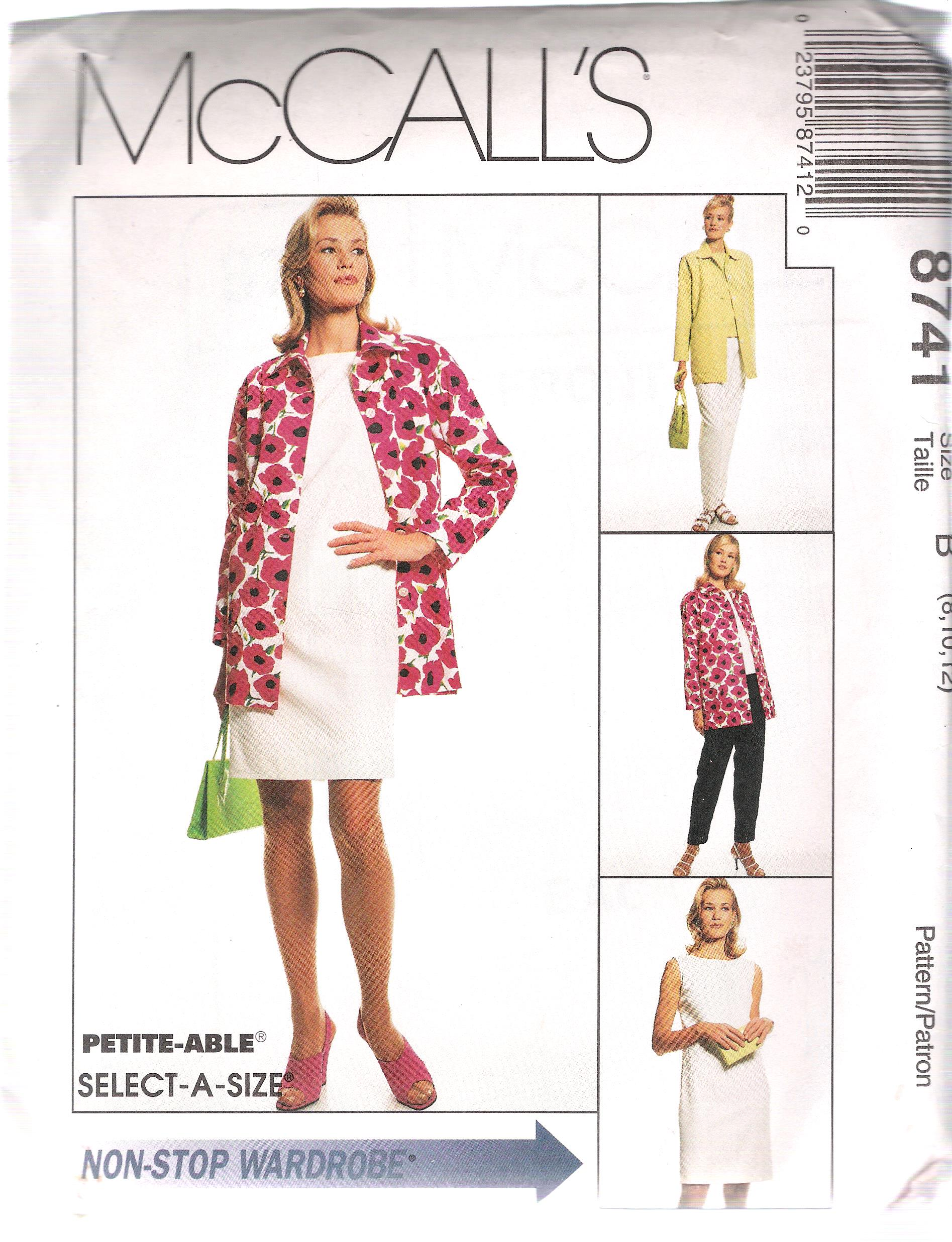 Jacket Dress Blouse Pants Sewing Pattern 8741 McCalls Size 8 through 12