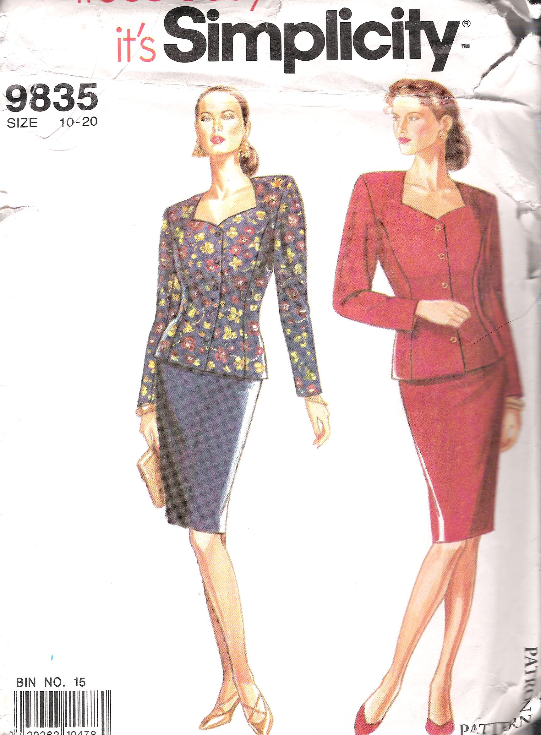 2 Piece Suit 9835 Simplicity Sewing Pattern Size 10-20 UNCUT