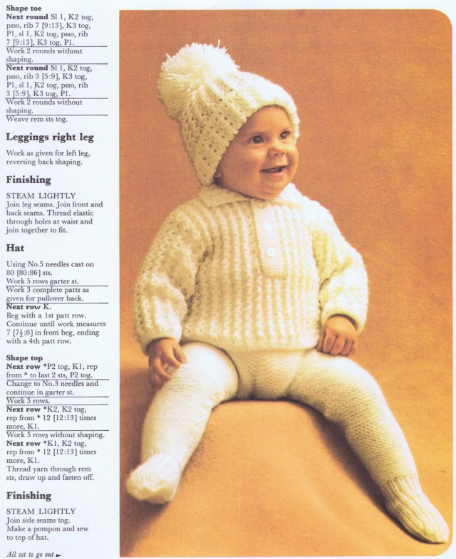 Knitting Lesson three piece knitted baby suit pattern