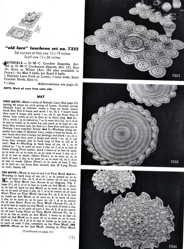 Free Vintage Hairpin Maltese Lace Crochet Patterns Doily