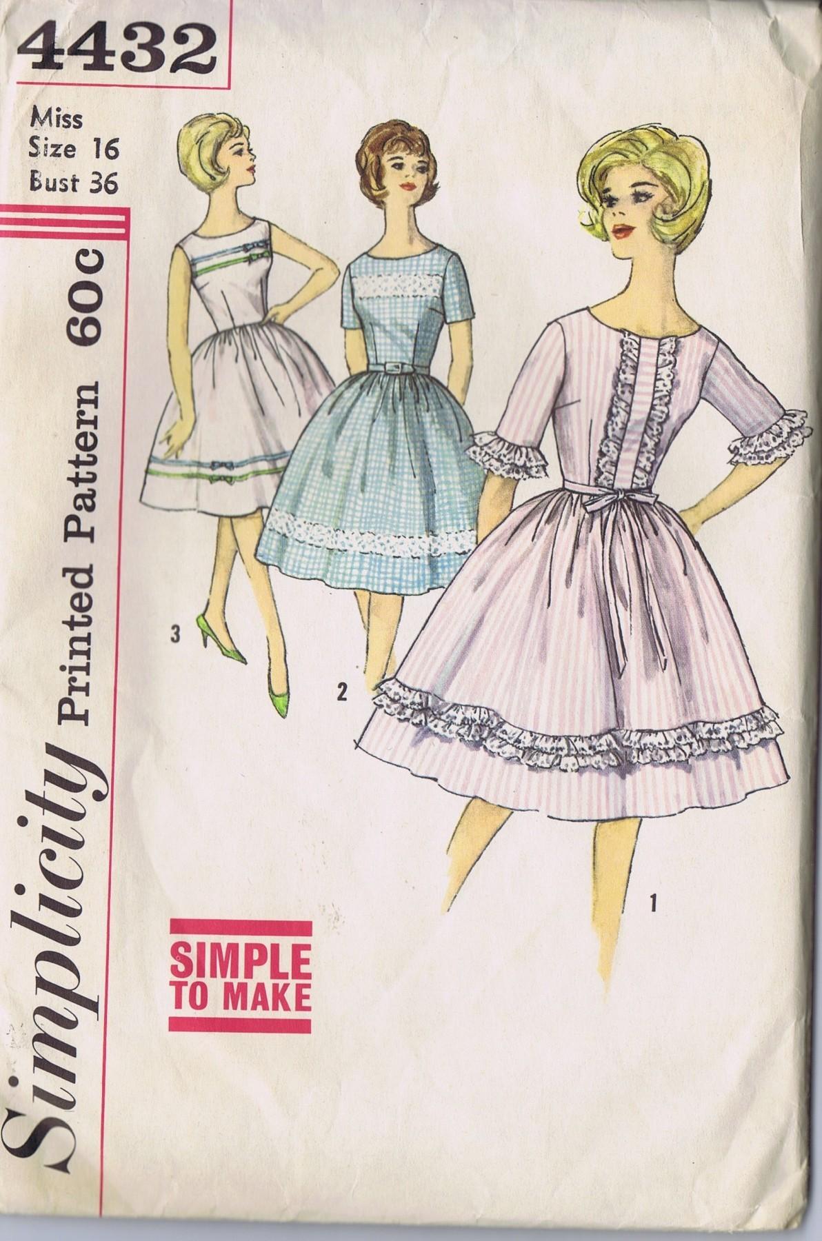 vintage rockabilly dress 4432 simplicity size 16