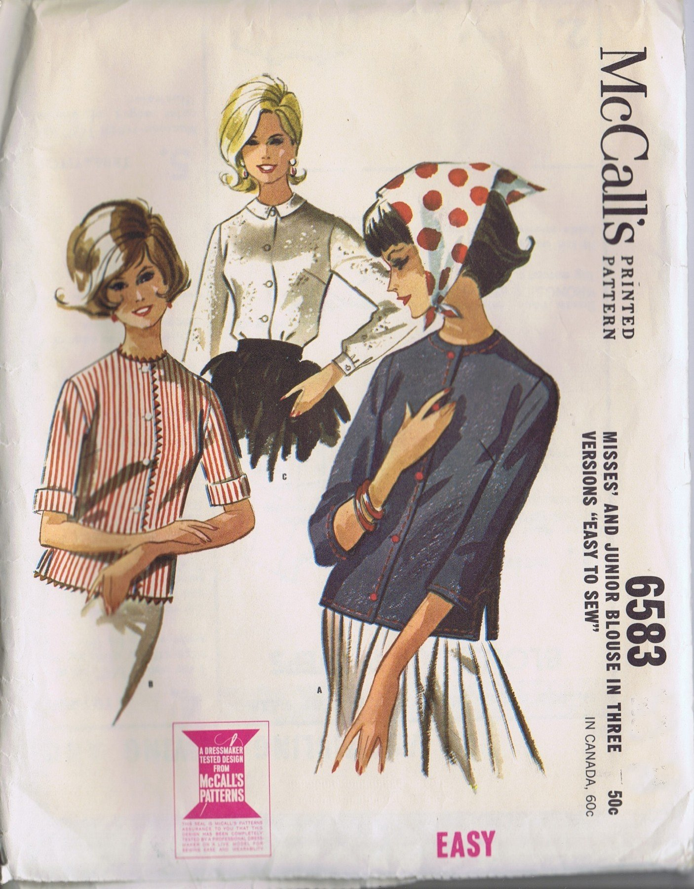 vintage mccalls pattern sewing blouse size 16