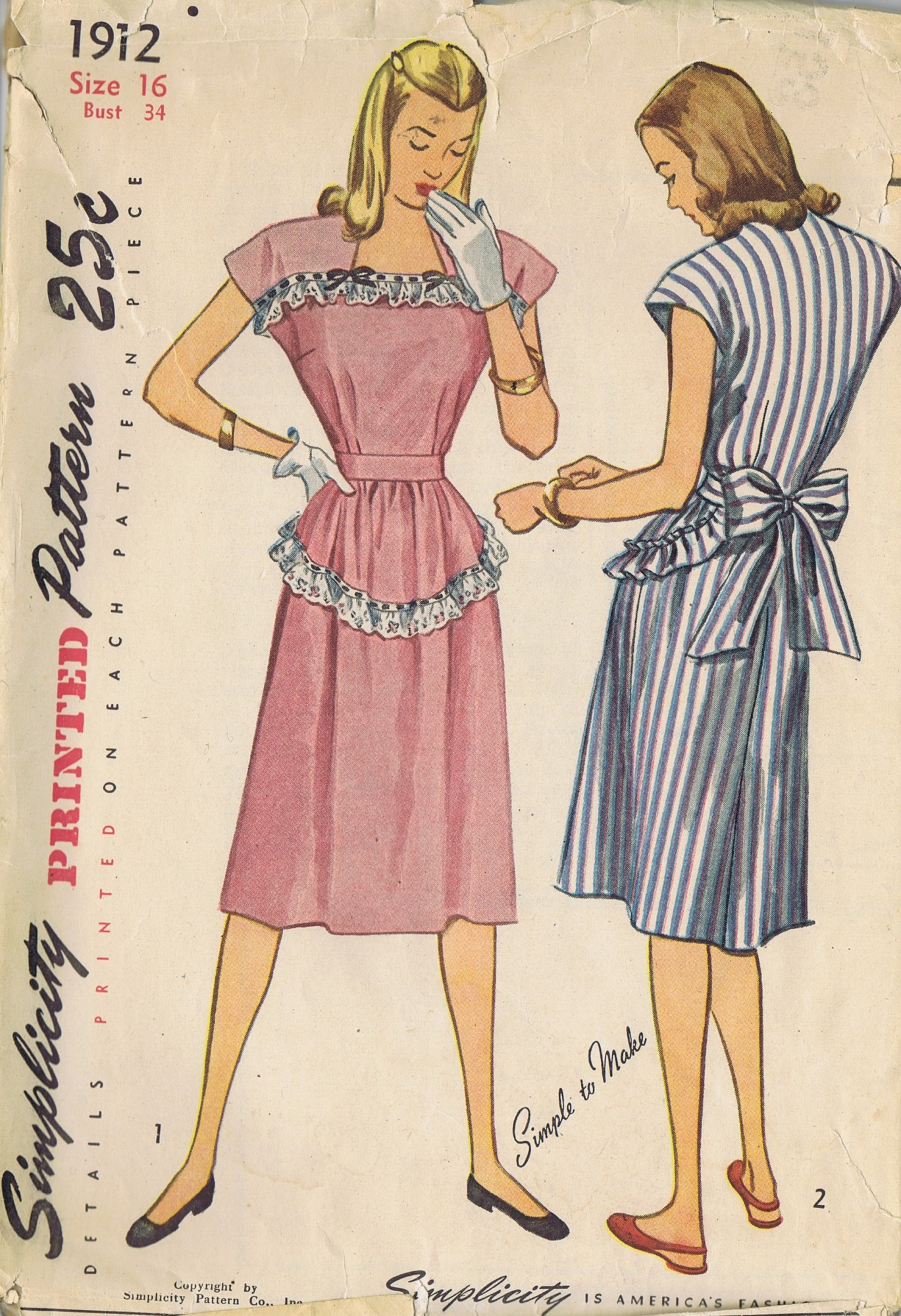 vintage 49s Dress Simplicity Sewing Pattern 1912