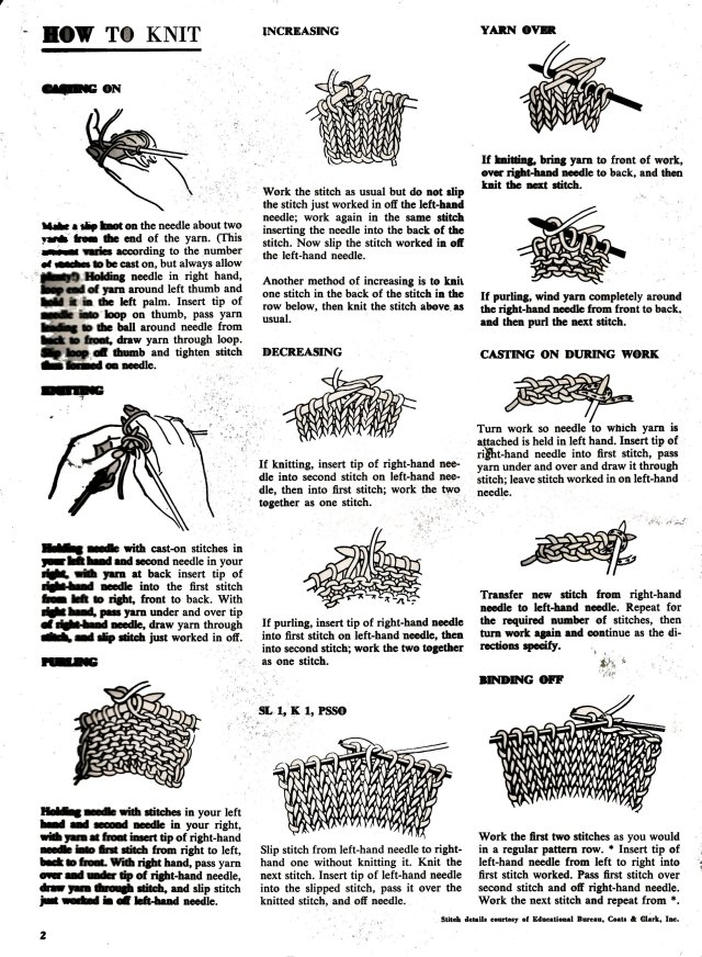 How to Knit - Best Free Vintage Knitting Crochet Patterns 1967