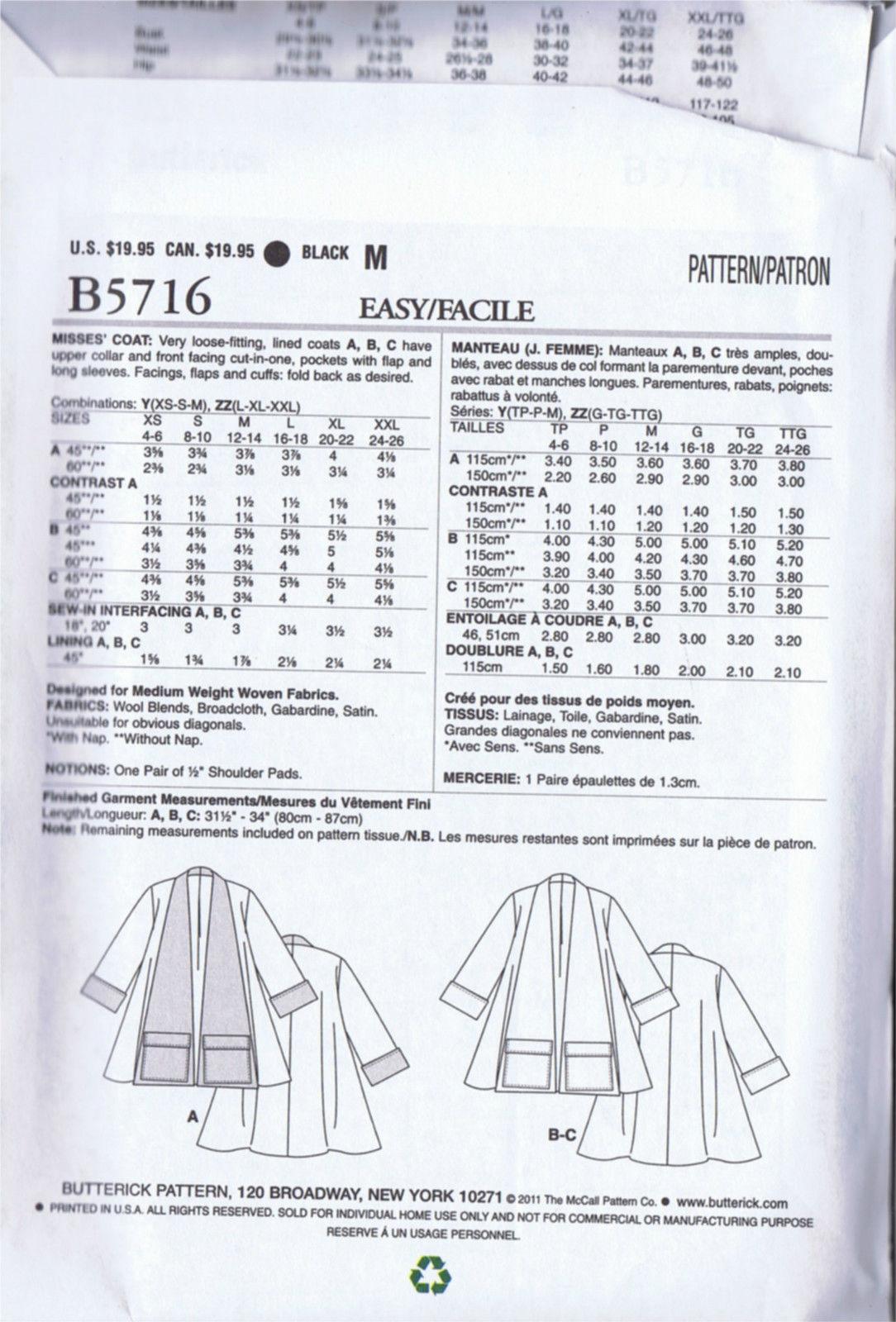 5716 5716 Butterick SEWING PATTERN Swing Coat Vintage